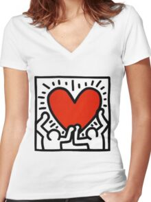 Keith Haring Heart Women's Fitted V-Neck T-Shirt