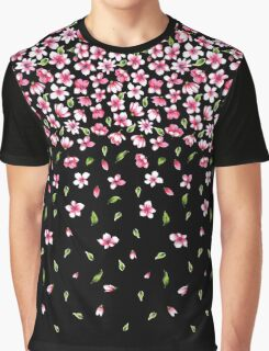 Pink flowers on black color background Graphic T-Shirt