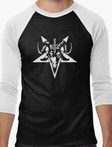 Satanic Goat Head with Pentagram (white) Men's Baseball ¾ T-Shirt