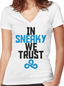 In Sneaky we trust Women's Fitted V-Neck T-Shirt