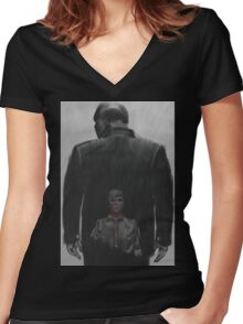 Rabbit in a snowstorm Women's Fitted V-Neck T-Shirt