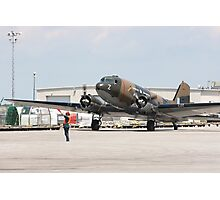 Two engines transport airplane Douglas DC-3 Dakota(C-47) the working hors of WWII on start line. Photographic Print