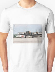 Two engines transport airplane Douglas DC-3 Dakota(C-47) the working hors of WWII on start line. T-Shirt