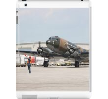 Two engines transport airplane Douglas DC-3 Dakota(C-47) the working hors of WWII on start line. iPad Case/Skin