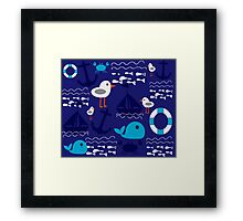 Boat at sea navi Framed Print