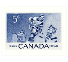 Canada postage stamp, 1956, hockey Art Print