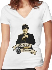 Doctor Who - My first Doctor (Who) Second 2nd Patrick Troughton Women's Fitted V-Neck T-Shirt