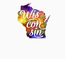 Wisconsin US State in watercolor text cut out T-Shirt