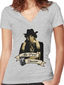 Doctor Who - My first Doctor (Who) Fourth 4th Tom Baker Women's Fitted V-Neck T-Shirt