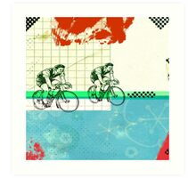 Cycling Mixed Media Collage Illustration Art Print
