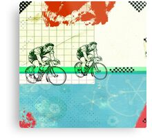 Cycling Mixed Media Collage Illustration Metal Print