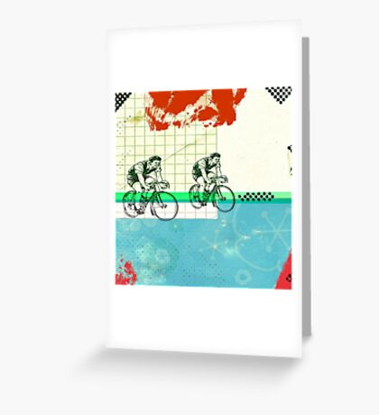 Cycling Mixed Media Collage Illustration Greeting Card
