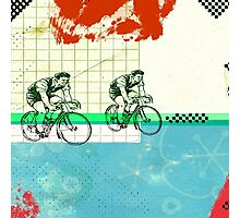 Cycling Mixed Media Collage Illustration Photographic Print
