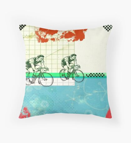 Cycling Mixed Media Collage Illustration Throw Pillow