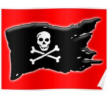 Pirate, FLAG, Skull & Crossbones, Jolly Roger, Buccaneers, Me Harties! BLACK on RED Poster