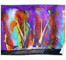Live Concert Rock n Roll Light Show Painting Poster
