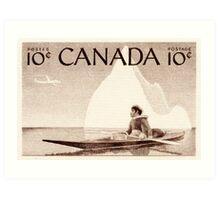 Canada postage stamp, 1955, kayak Art Print