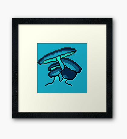 Pixel Art Blue Cave Mushrooms Framed Print