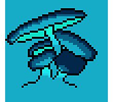 Pixel Art Blue Cave Mushrooms Photographic Print