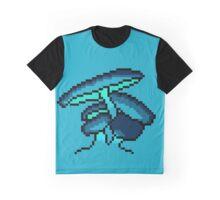 Pixel Art Blue Cave Mushrooms Graphic T-Shirt