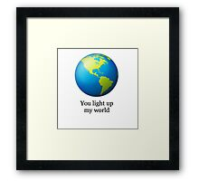 World emoji- You light up my world Framed Print