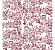 walking doodle toile de jouy red Photographic Print