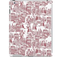 walking doodle toile de jouy red iPad Case/Skin
