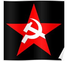 Red Star, Hammer and sickle, in five leg star. Communism, BLACK Poster