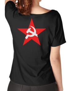 STAR, Red Star, Hammer and sickle, in five leg star. Communism, BLACK Women's Relaxed Fit T-Shirt