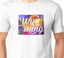 Wyoming US State in watercolor text cut out Unisex T-Shirt
