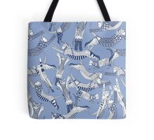cat party blue Tote Bag
