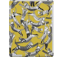 cat party ochre yellow iPad Case/Skin