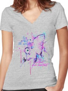 Live Without The Sunlight Owl Women's Fitted V-Neck T-Shirt