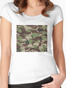 Pixel camouflage green Women's Fitted Scoop T-Shirt