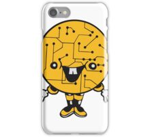 laughing face funny comic cartoon cyborg robot head ball circle electronic lines data man male figure sweet cute iPhone Case/Skin