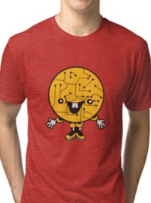 laughing face funny comic cartoon cyborg robot head ball circle electronic lines data man male figure sweet cute Tri-blend T-Shirt