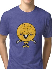laughing face funny comic cartoon cyborg robot head ball circle electronic lines data man male figure sweet cute Tri-blend T-Shirt