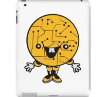 laughing face funny comic cartoon cyborg robot head ball circle electronic lines data man male figure sweet cute iPad Case/Skin