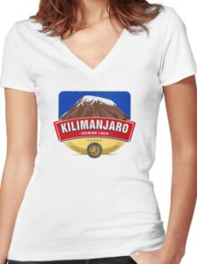 KILIMANJARO LAGER BEER TANZANIA Women's Fitted V-Neck T-Shirt