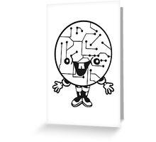 laughing face funny comic cartoon cyborg robot head ball circle electronic lines data man male figure sweet cute Greeting Card