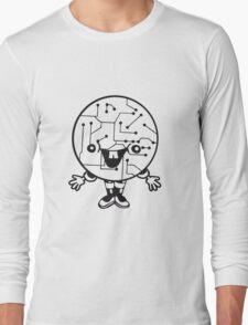 laughing face funny comic cartoon cyborg robot head ball circle electronic lines data man male figure sweet cute Long Sleeve T-Shirt