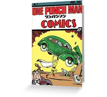 One Punch Man Action Comics Greeting Card
