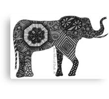 ELEPHANTINE DOODLES Greyscale Canvas Print