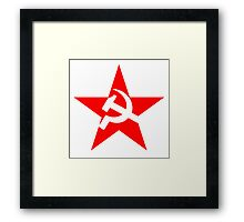 Red Star, Hammer and sickle, in five leg star. Communism, Russia Framed Print
