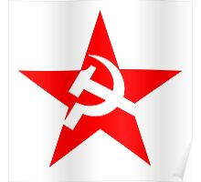 Red Star, Hammer and sickle, in five leg star. Communism, Russia Poster