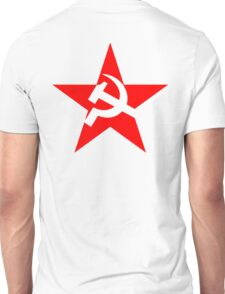 STAR, Red Star, Hammer and sickle, in five leg star. Communism, Russia Unisex T-Shirt