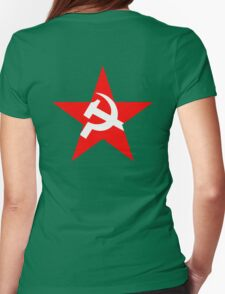 Red Star, Hammer and sickle, in five leg star. Communism Womens Fitted T-Shirt