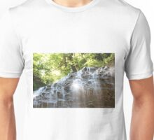 Top part of Tiffany Falls with sun beams. Horizontal orientation. Unisex T-Shirt