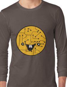 laughing face funny comic cartoon cyborg robot head ball circle electronic lines data Long Sleeve T-Shirt