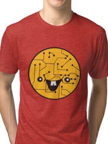laughing face funny comic cartoon cyborg robot head ball circle electronic lines data Tri-blend T-Shirt